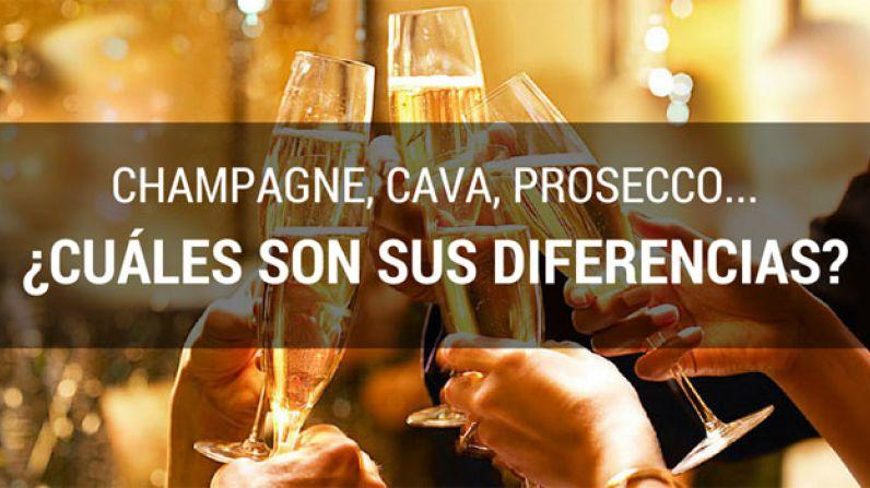 Champagne, Cava o Prosecco ¿cuál es la diferencia?