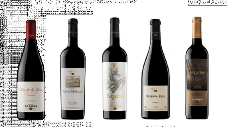 Los 5 vinos de Familia Torres mejor valorados por Wine Spectator.