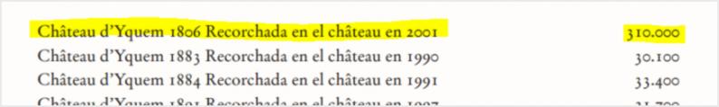 Chateau d'Yquem 1806 en la Carta de vinos del Restaurante Atrio