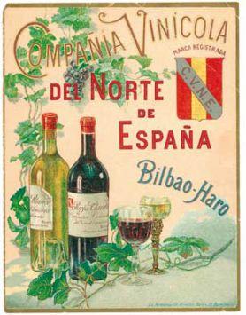 Cartel anunciando los vinos de CVNE de 1902
