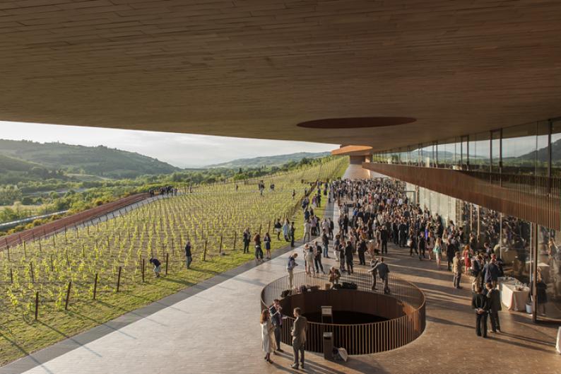 Una degustación de vinos del Istituto Grandi Marchi sobre la terraza de la bodega Antinori en Bargino justo antes de la cena de gala de nuestro Simposio en Toscana en mayo.